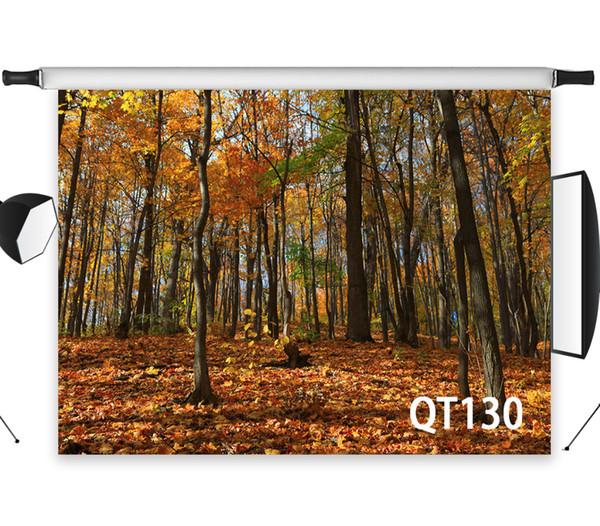 Priorità bassa di Backdrops della natura delle foglie cadute della foresta decidua di autunno del vinile del poliestere per i puntelli della foto del contesto dello studio della fotografia