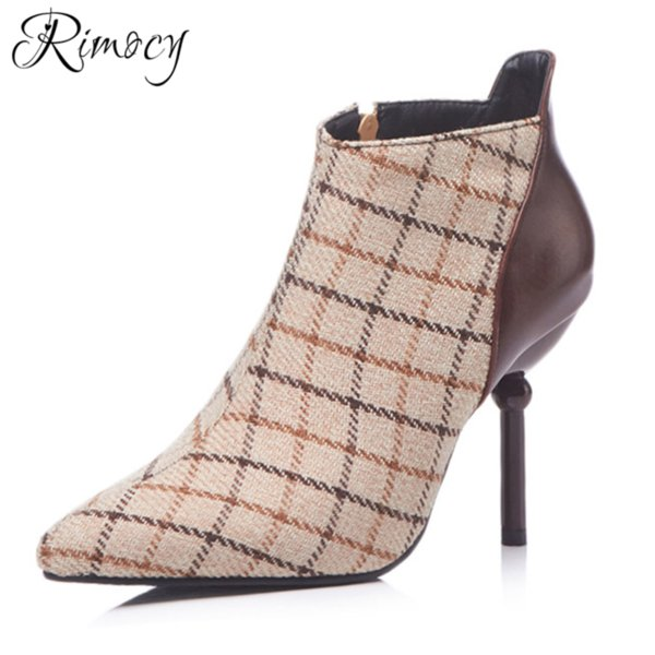 Rimocy ankle boots for women 9cm Super High Heels Boots 2019 fashion Winter Large 32-48 size warm shoes woman thin heels botines