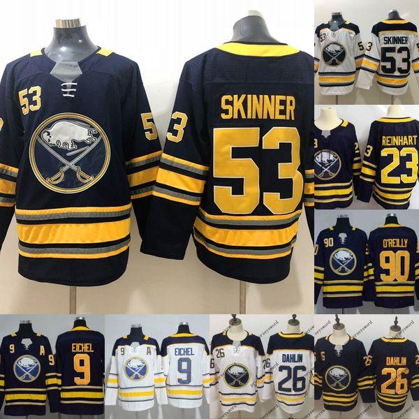 cheap for discount ccc93 e78a9 2019 #26 Rasmus Dahlin Jersey Mens Buffalo Sabres 9 Jack Eichel 23 Sam  Reinhart 53 Jeff Skinner 90 Ryan O'Reilly Blank Hockey Jerseys Cheap From  ...