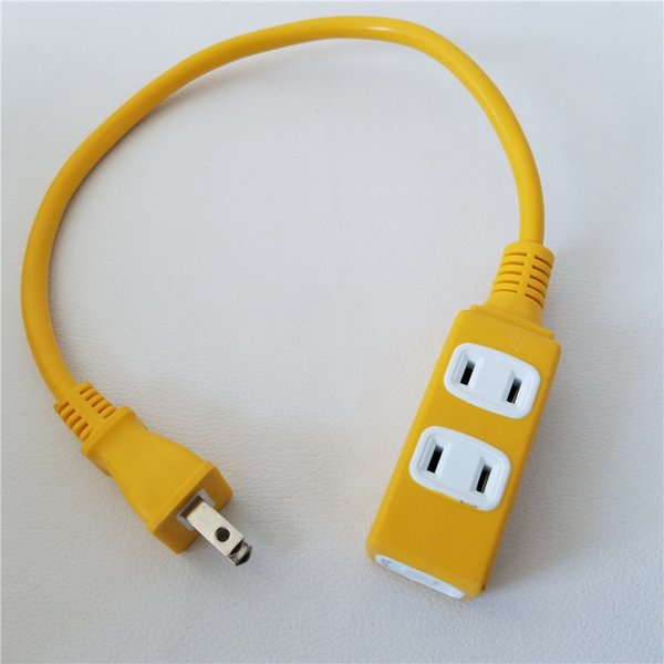 top popular AC Power Cable Charge Suppply Socket Plug to 3 Port Outlet Receptacle US Standard Yellow 15A 45cm 2021