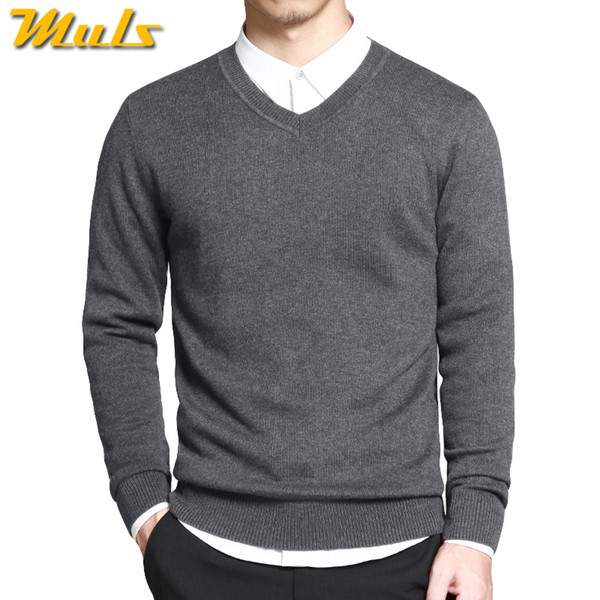 Merino Wool Sweater Pullovers Men V Neck Long Sweater Jumpers Luxury Winter Warm Mercerizing Fleece Male knitwear Autumn Spring