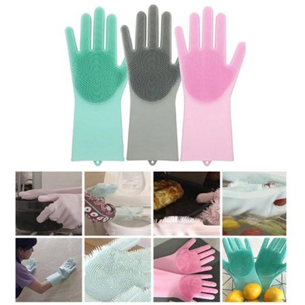 New Magic Silicone Scrubber Guanto in gomma per la pulizia Guanti Spolverino Dish Washing Pet Care Grooming Hair Car Kitchen Helper Scrubber Cleaning