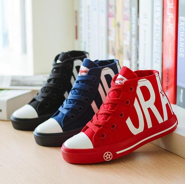 Alta qualità autunno bambini scarpe ragazzi ragazze sneakers moda bambini alti top scarpe di tela casual traspirante soletta lunghezza 16 ~ 23 cm
