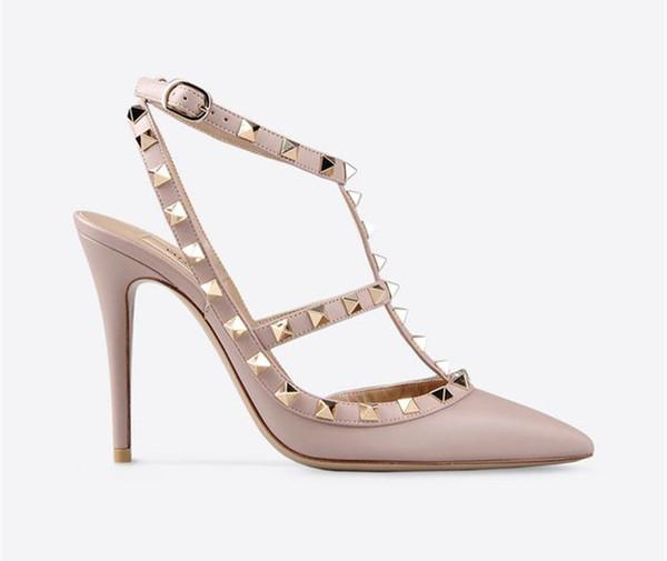 2018 marka tasarımcısı kadın yüksek topuklu 10 cm Rugan moda perçinler seksi sivri ayakkabı parti düğün ayakkabı Çift sapanlar sandalet