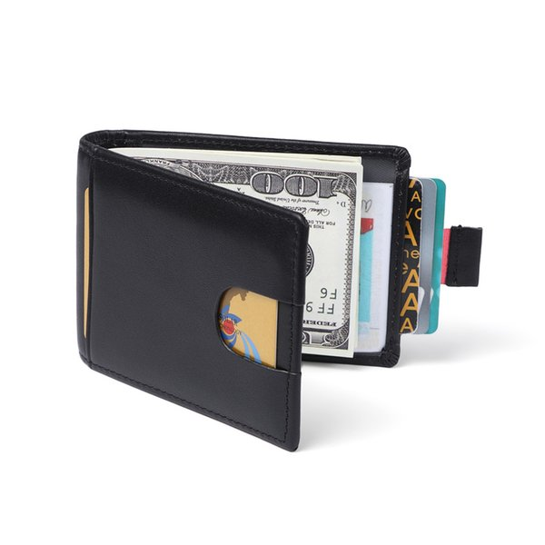6a23df46811b Genuine Leather Money Clip Wallet Mens Credit Card Holder RFID Blocking  Minimalist Wallet Bifold for Men