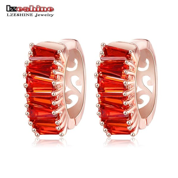 Wholesale- LZESHINE New Stylish Hoop Earrings Rose Gold Color Inlay Red Color CZ Stone Women Brincos Wholesale 2016 CER0147-A