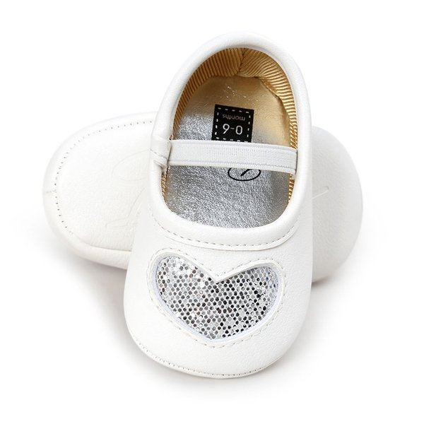 HOT SALE Leather Newborn Baby Girls Princess Heart-Shaped Soft Bottom Baby Shoes Gold & White 12-18m