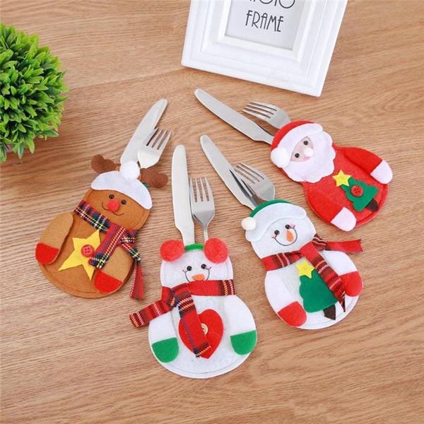 Weihnachten Geschirr Gabel Messer Abdeckung Fall Santa Schneemann Rentier Geschirr Abdeckung Tasche Weihnachtsschmuck Drop Ship