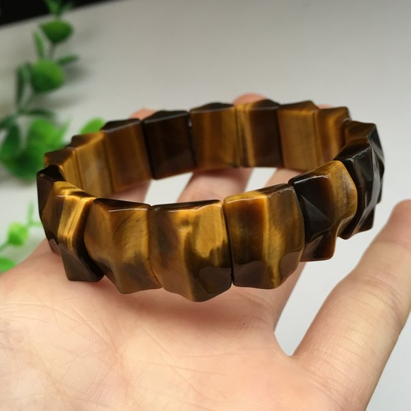 Free DHL Fashion Handmade Bracelet Natural Stretch Bangle 6A South Africa Yellow Tiger/Cat Eye Stone Hand Row Men's Bangle For Women H545F