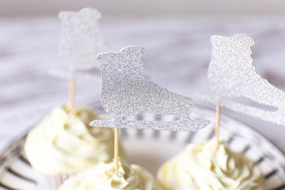 Glitter Ice Skate wedding Engagement cupcake toppers birthday Anniversary party decoration doughnut food picks