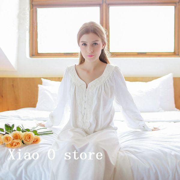 Cotton Nightgown Vintage Royal Sleepwear Long-sleeve Women Nightwear White Pink Nightdress Comfortable fabrics