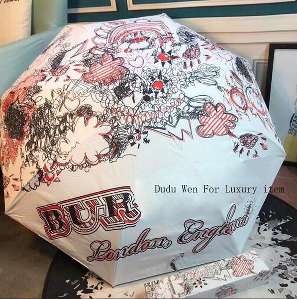 Nuova moda Graffiti-writing Ombrello Bur luxury Automatico aperto e chiuso Etichetta vintage Ombrello per pioggia o sunshie con confezione regalo
