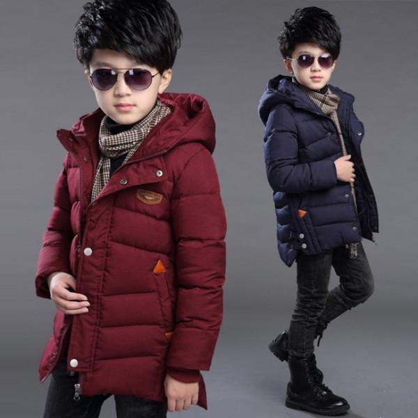 Teenager Boys Parkas 2018 Chaquetas de invierno de nueva moda para Big Boy Warm Down Abrigo acolchado de algodón Niños de Navidad 6 6 8 8 10