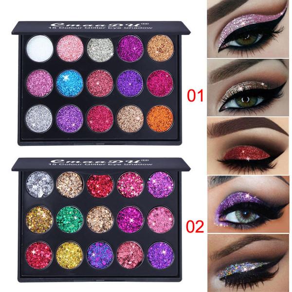 top popular Brand CmaaDu Makeup Eyeshadow Palettes 15 Color Diamond Sequins Shiny Glitter Eye Make up 2 Styles 3001329 2019