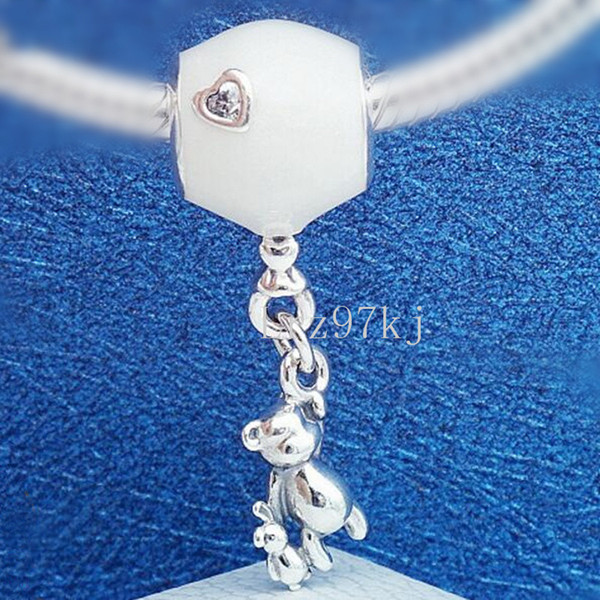 2018 Mother's Day 925 Sterling Silver Teddy and Balloon Dangle Charm Bead Fits European Pandora Jewelry Bracelets Necklaces & Pendants