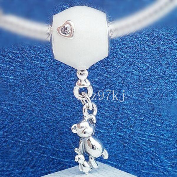 2018 dia das mães 925 prata esterlina Teddy e balão Dangle charme Bead serve Pandora europeus jóias pulseiras colares pingentes