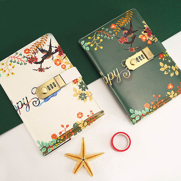 Cute Travel Journal Diary Nlower Birds Cover Notepad Diary Composition Book With Lock Password For Student CC