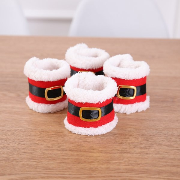 4pcs Christmas Decoration for Home Santa Napkin Ring Viscid Belt Buckle Napkin Holder Rings Xmas Dinner Party Table Decoration