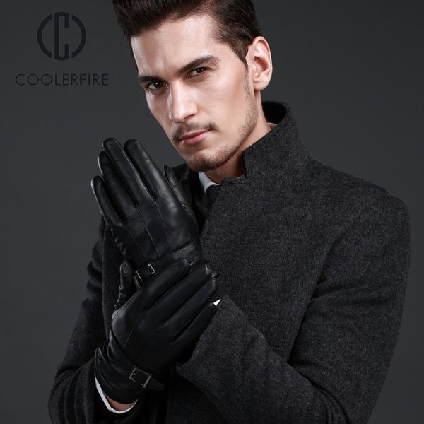 Men Gloves Genuine Leather Gloves sheepskin Winter Male Warm Plush Lining Fashion Driving Mittens ST025