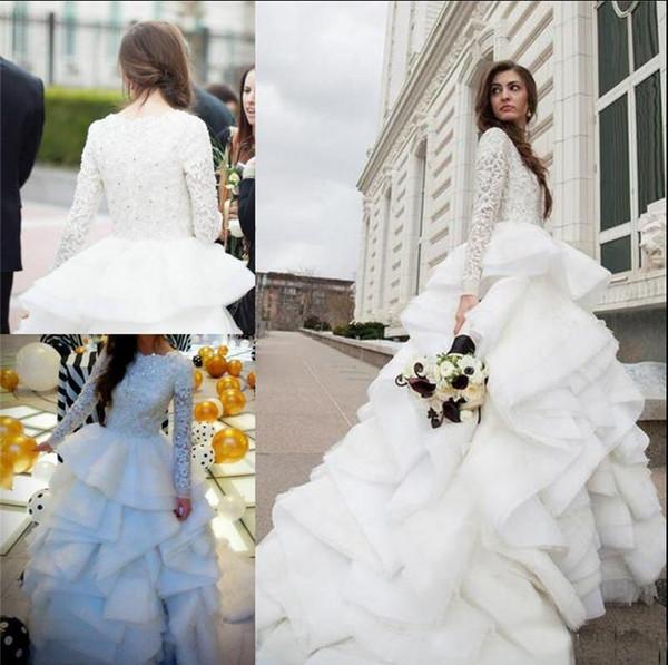Discount Vintage Ruffles Long Sleeves Wedding Dresses 2018 Tiered ...