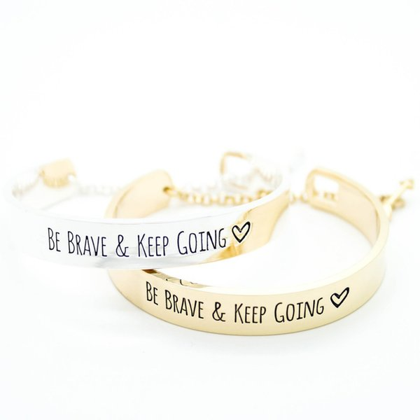 Engraved Be brave and keep going message gold bracelet fashion bracelets for women S3-0152