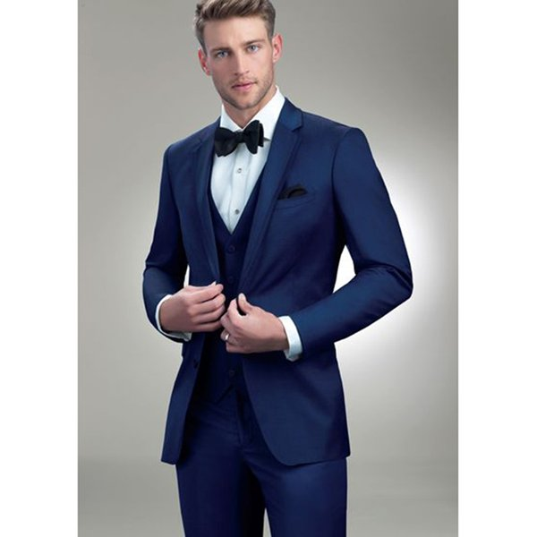 Hot Sales Latest Designs Royal Blue Men Wedding Suit 3pieces(Jacket + Pants + Vest+Tie) Slim Prom Masculino Trajes De Hombre