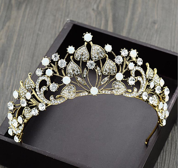 Bridal headwear, new crown, antique wedding dress, atmosphere, crystal, sweet, wedding, toast, super fairy hair accessories.