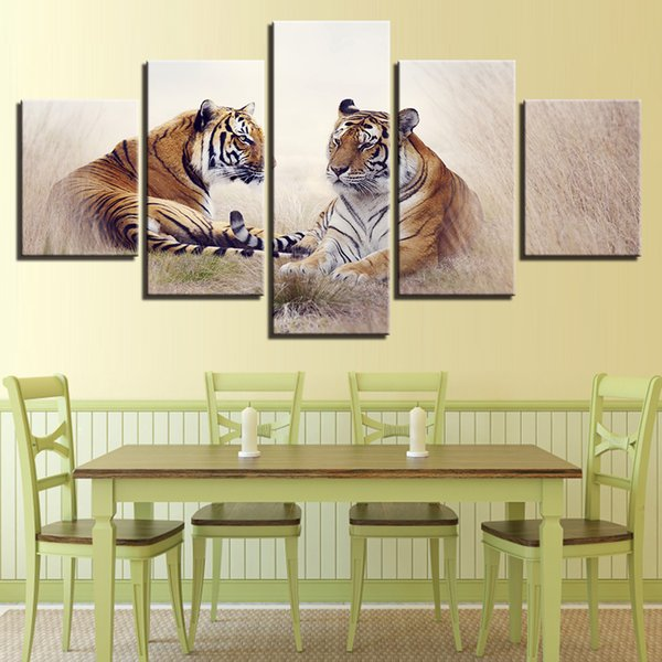 Wall Art Modern HD Printed 5 Panel Tiger Couples Scenery Poster Decor Animals Canvas Pictures Living Room Painting Modular Frame