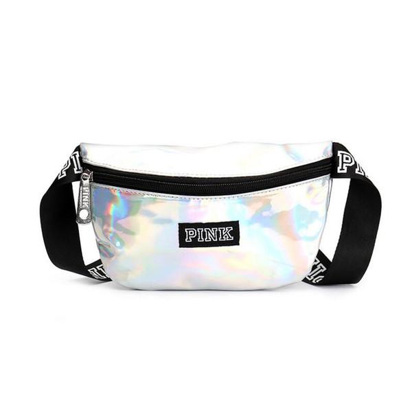 Pink Laser Transparent Pink Letter Waist Belt Bag Fashion Sports Beach Travel Bags Waterproof Handbags Purses Cosmetic Bag