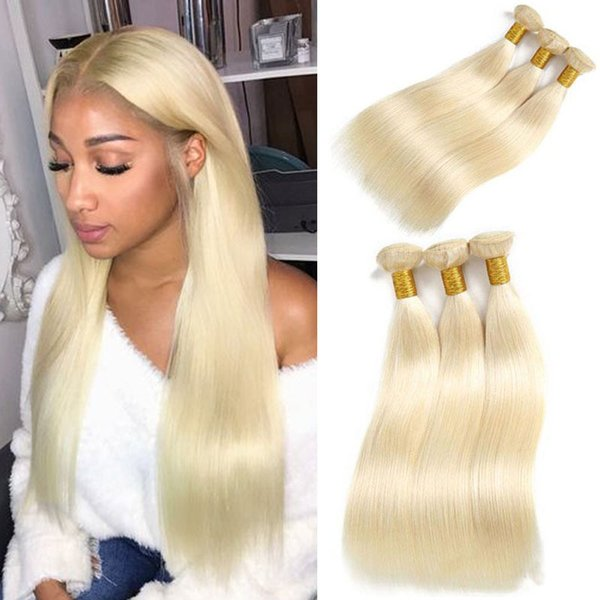 Malaysian Straight Hair Human Hair Extensions 10 To 26 Inch 3 Pieces Virgin Remy Hair Weaving 613 Blonde Bundles