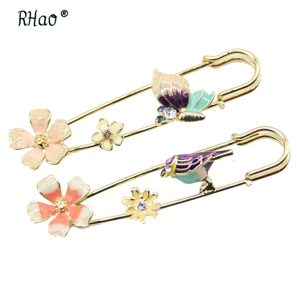 RHao Enamel Pink Flower Large Safery Pins Brooches for Women Men Kids Coat Scarf buckle Suit Corsage Clothes accessories bee pin