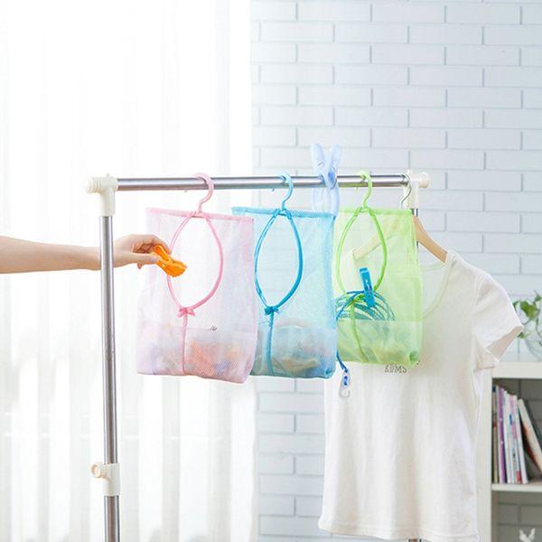 Multi-Function Polyester Mesh Storage Bag Hanging Kitchen Wardrobe Cosmetics Sundries Storage Organizer Underwear Clothes BagZI-409