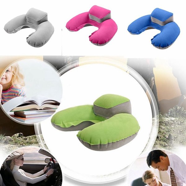 Inflatable U-Shape Neck Pillow Air Cushion Soft Head Rest Compact Plane Flight Travel 4 Colors AAA198