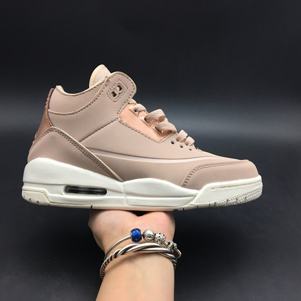 High Quality Basketball Shoes 3 Rose Gold Women's Top Sports Shoes 3s Women Sneakers US size 5.5-8.5 Free Shipping With Box