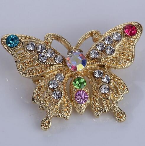 1 Unids Moda Mariposa Estilo Brillante Broche de Cristal Pin Mujeres Joyería Del Partido Exquisito Broche de Metal de Colores Accesorio