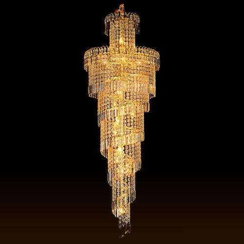 Crystal chandeliers factory direct sales luxury golden traditional high end K9 crystal chandelier duplex villa led chandeliers with bulbs