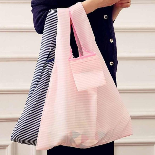 New Eco friendly Foldable Shopping Bag Nylon Fabric Reusable Food Grocery Organizer Market Bags Tote Environment Handbags