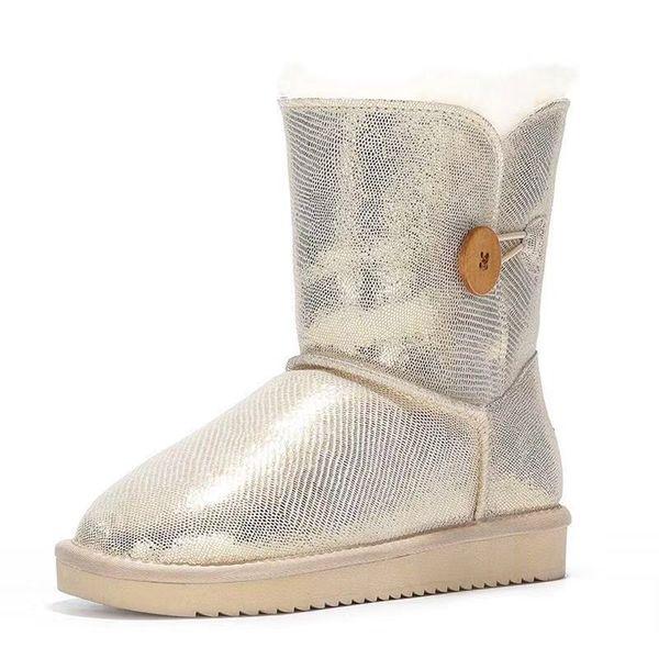 2018 New Style Real pele de Carneiro Agradável Inverno Botas de Neve Clássico Genuína Pele De Carneiro Mulheres Botas de Qualidade Superior Sapatas Das Mulheres