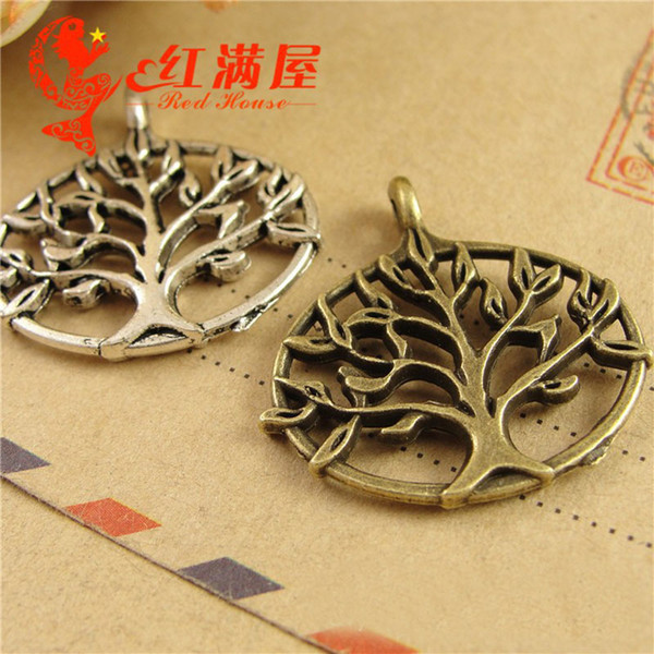 A3810 27*27MM Antique bronze South Korea hollowed out pattern filigree tree charms and pendants, DIY tibetan silver jewelry wholesale