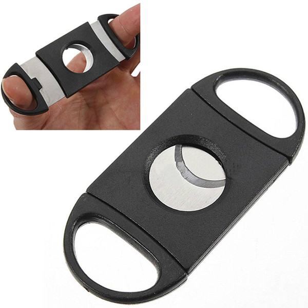 Pocket Plastic Stainless Steel Double Blades Cigars Guillotine Cigar Cutter Knife Scissors Tobacco Black New Smoking Tool