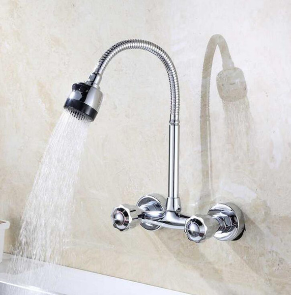 Wall Mounted Kitchen Faucet Hot and Cold Water Mixer Crane Two Hole Kitchen Sink Faucets Copper Chrome Finished
