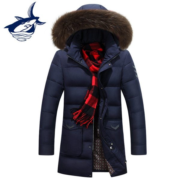 High quality fur collar long coat men brand men's long down jacket thick warm snow parka winter jacket for men