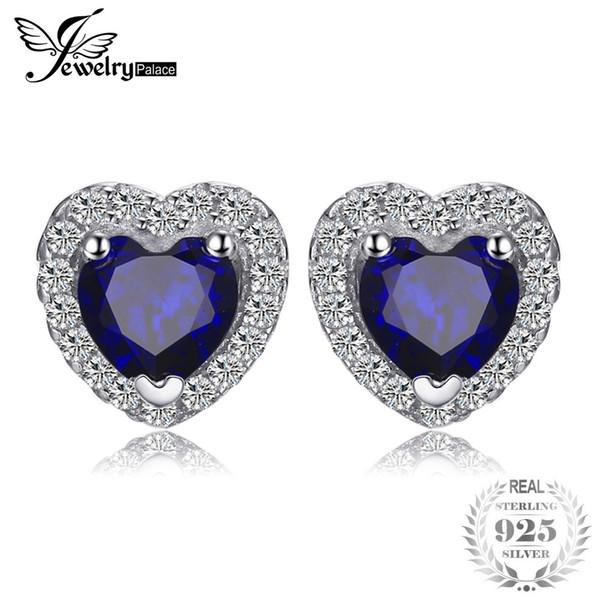 JewelryPalace Сердце Океана 1.2 ct создан Синий сапфир стерлингового серебра 925 серьги стержня для женщин мода старинные ювелирные изделия Y18110110