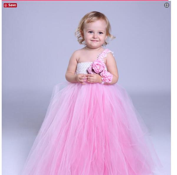 2018 tül sevimli Yüksek bel ince kız çiçek elbise Noel Balo kız Çocuk Resmi Giyim kat uzunluk Prenses Kız Elbiseler