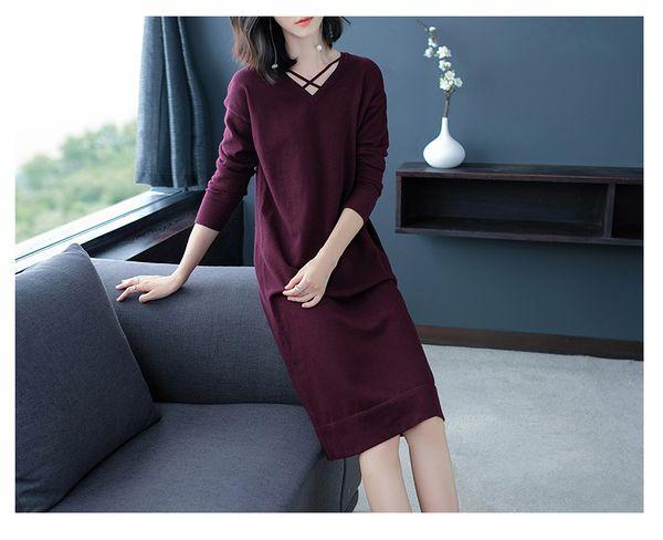 a3186aba5e117 2018 sonbahar kışlık elbise yeni stil bayan elbise, saf renk, ince, ince,