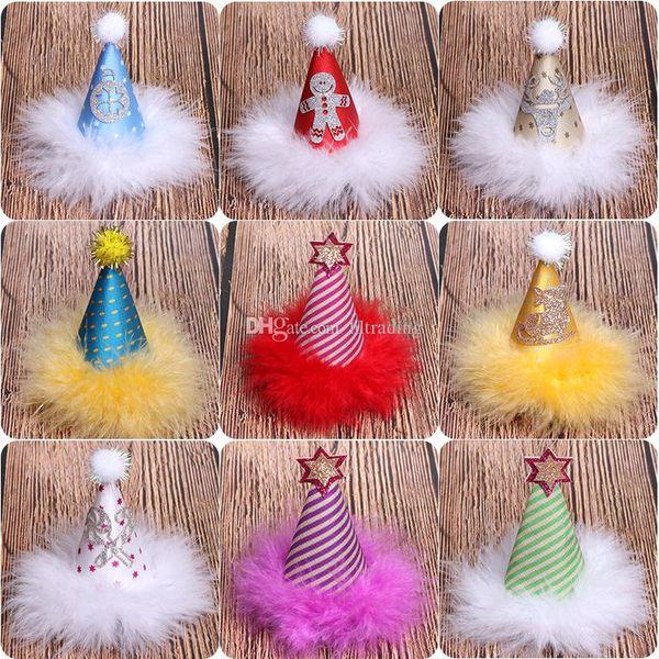 Christmas hat stripe Hair clip baby Girls hairpins Xmas caps Barrettes children hair accessories kids Santa Hair clips C5426