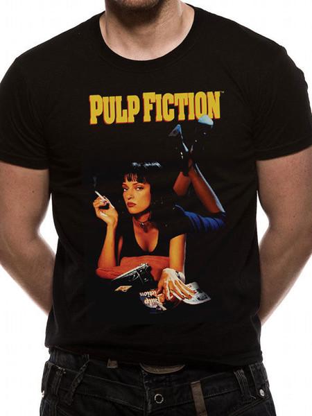 Pulp Fiction Uma Thurman Poster ufficiale Tarantino Black Mens T-shirt 2018 divertente maglietta, 100% cotone fresco, bella maglietta estiva Tops