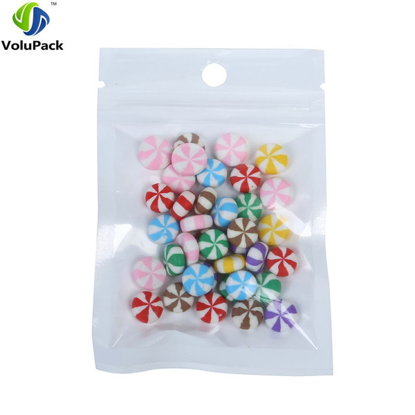 """8x13cm (3.1x5.1"""") 3 MIL Recyclable zipper top plastic packaging bag Flat Clear/White Zip Lock Bags with Hang Hole"""