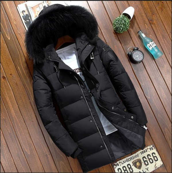 2018 New Mens winter jacket Men's thick long down jacket men coat White duck down winter parka Reall raccoon fur collar