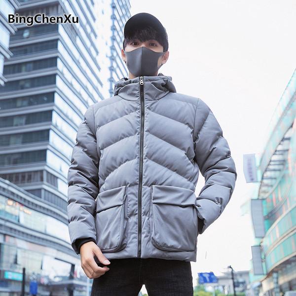 Winter Coat Men Slim Fit Hooded Jacket Solid Color Men's Windbreaker Fashion Waterproof Outwear Brand Clothing parka homme 1139